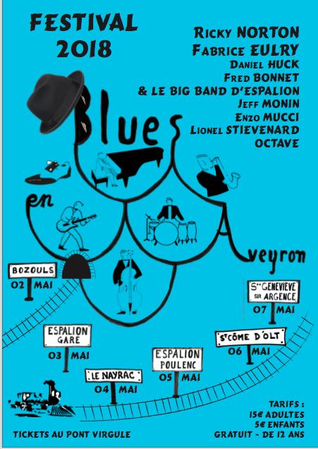 BLUES EN AVEYRON 2018 affiche recto